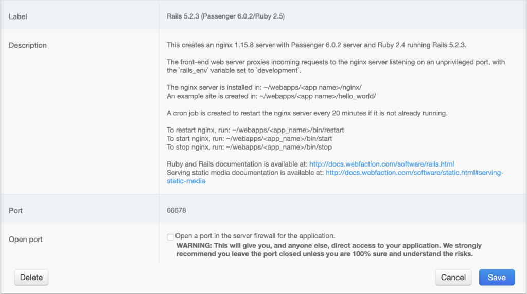 Webfaction rails app