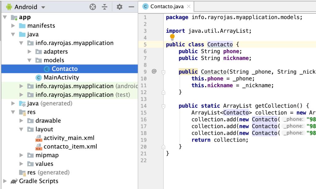 Modelo Contacto - Android Studio
