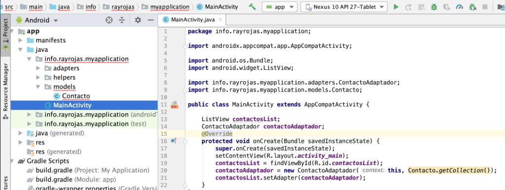 Implementación anterior: Android listas o listview