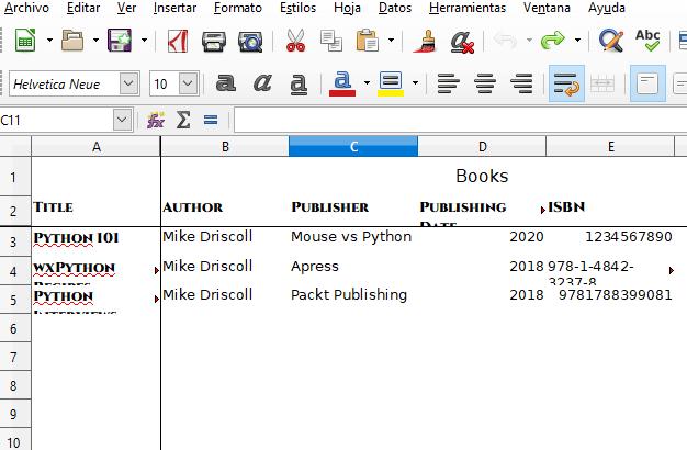 Excel Python Formato de ejemplo